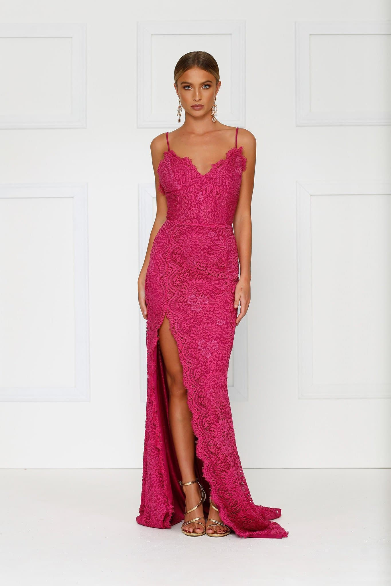 Layali Lace Gown - Hot Pink Lace Dress with Scalloped Lace Detailing