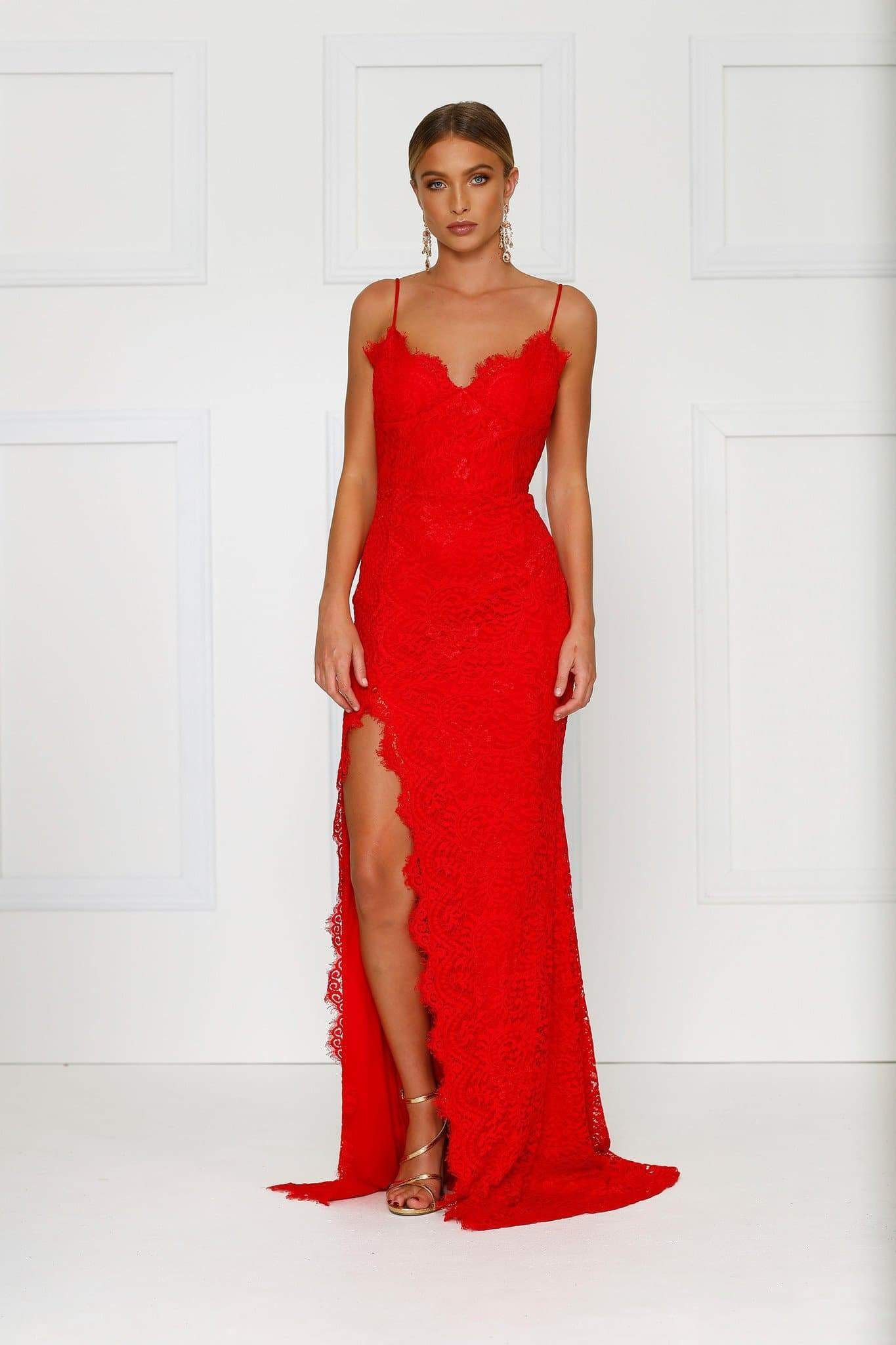 Layali - Red Lace Strapless Gown with Side Slit, V-Neck & Open Back