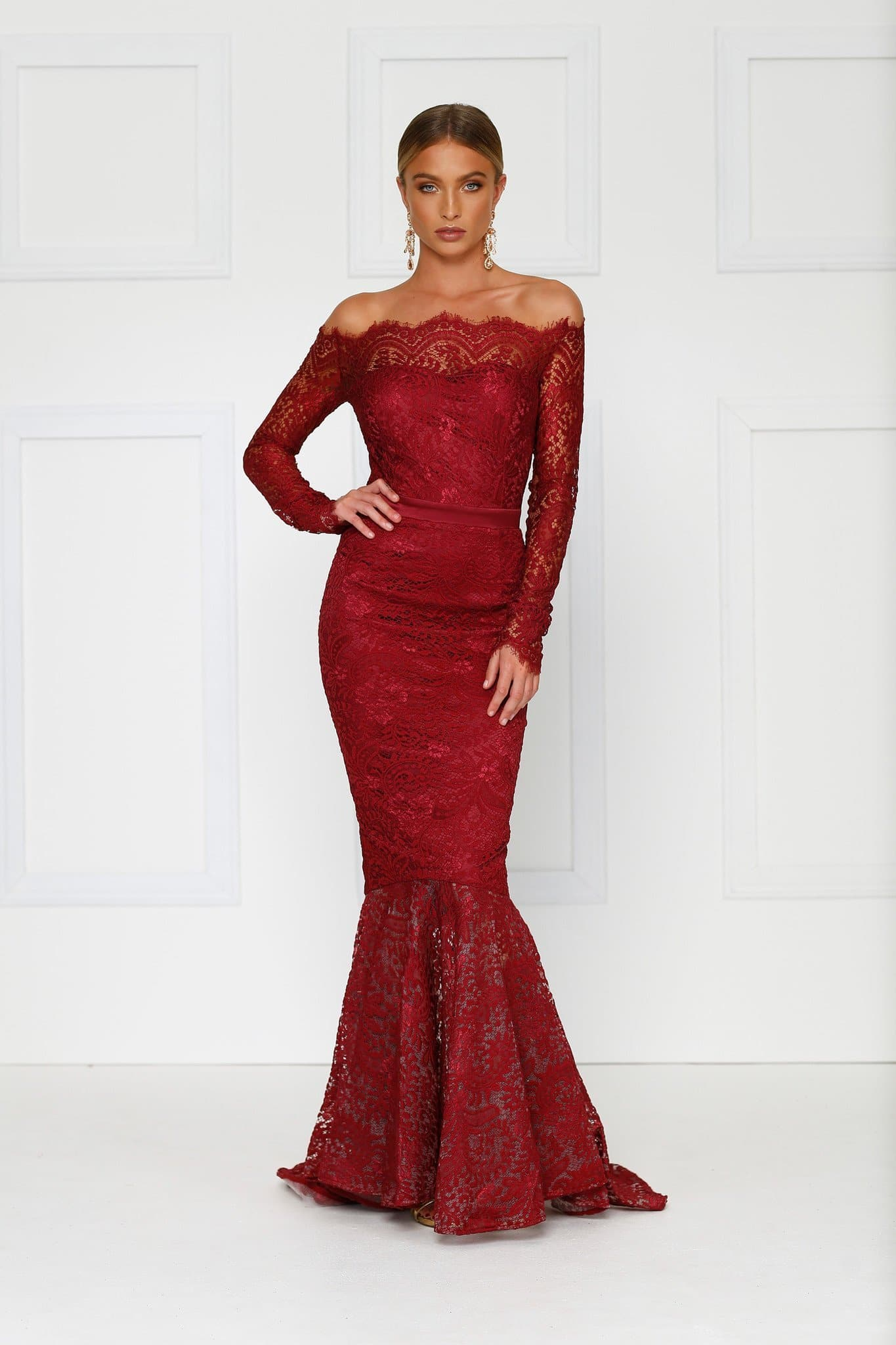 7f6d91d9b6843 Kamali - Burgundy Lace Gown with Off-Shoulder Long Sleeves