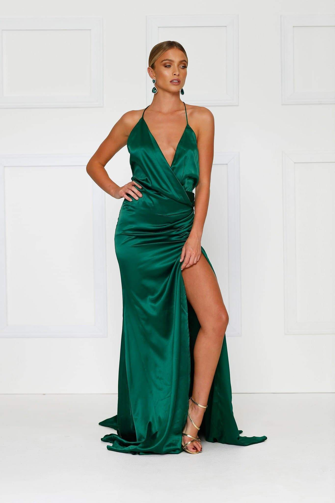 Guinevere Luxe Satin Gown - Emerald
