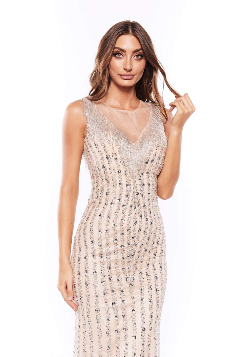 Ismay - Beaded Crepe Gown with Embellished Crystals