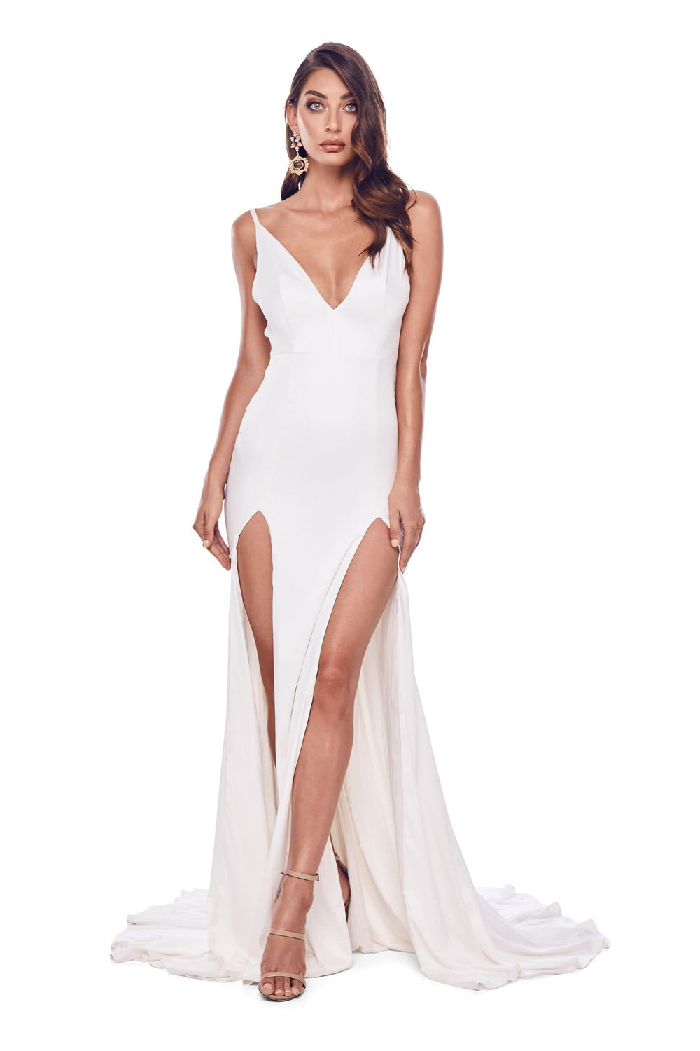 Izabelle - White Satin Backless Gown with Plunge Neckline & Side Slits
