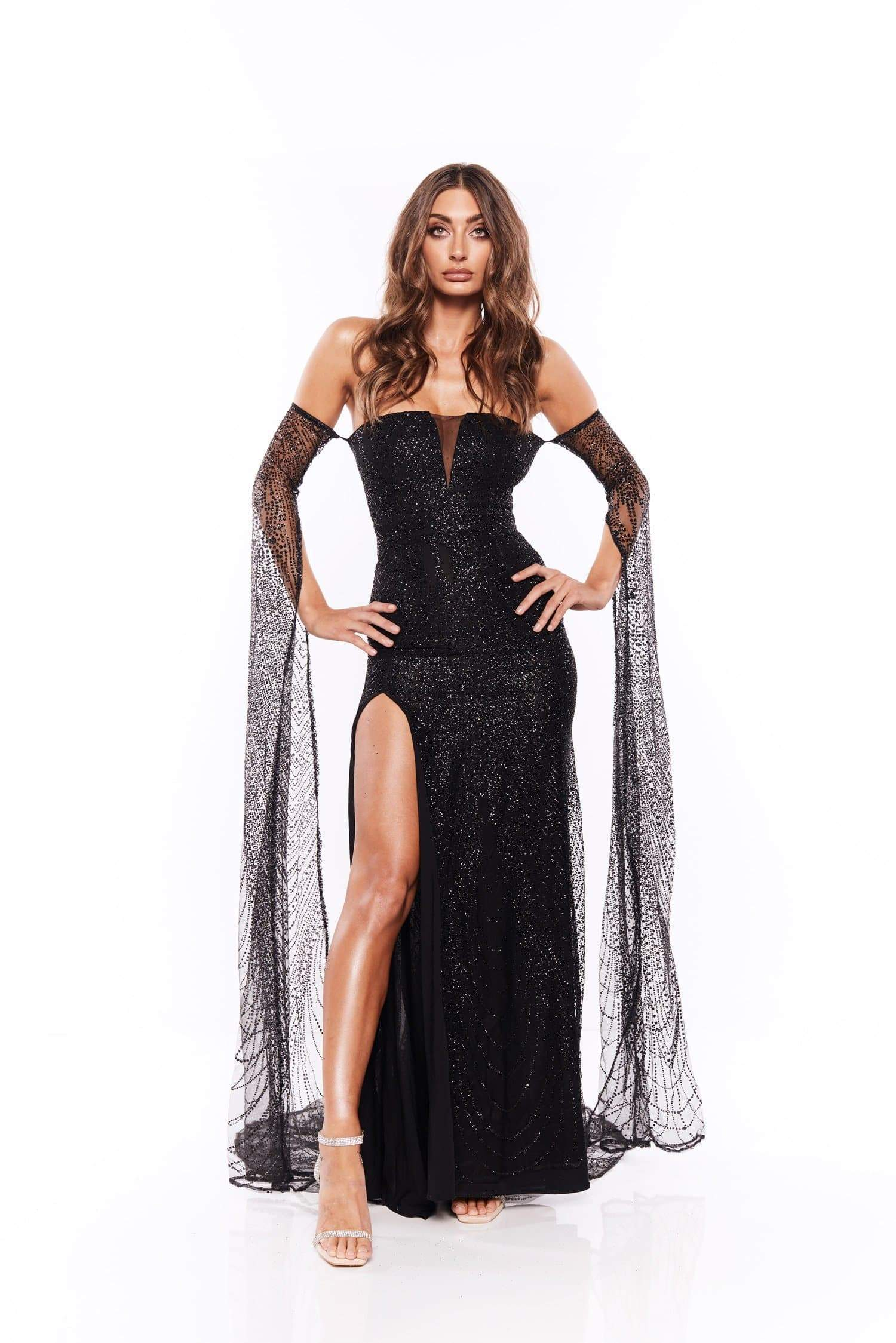 Jocelina - Black Glitter Gown | Long Off-Shoulder Sleeves & Side Slit