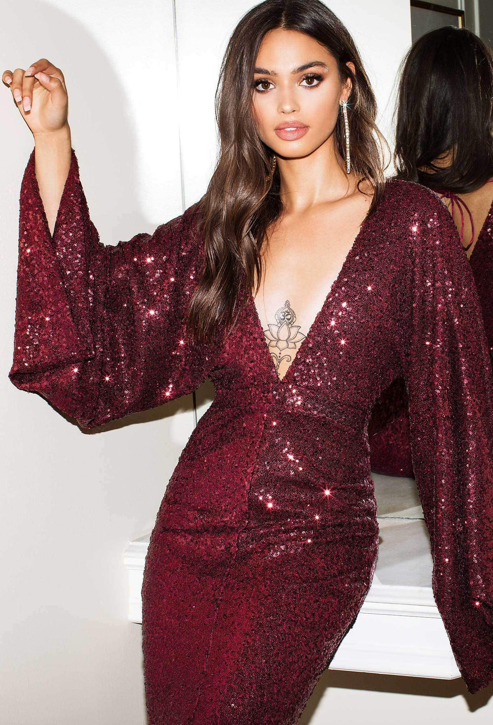 Kseniya - Burgundy Sequin Kimono Sleeve with Plunge Neck & Open Back
