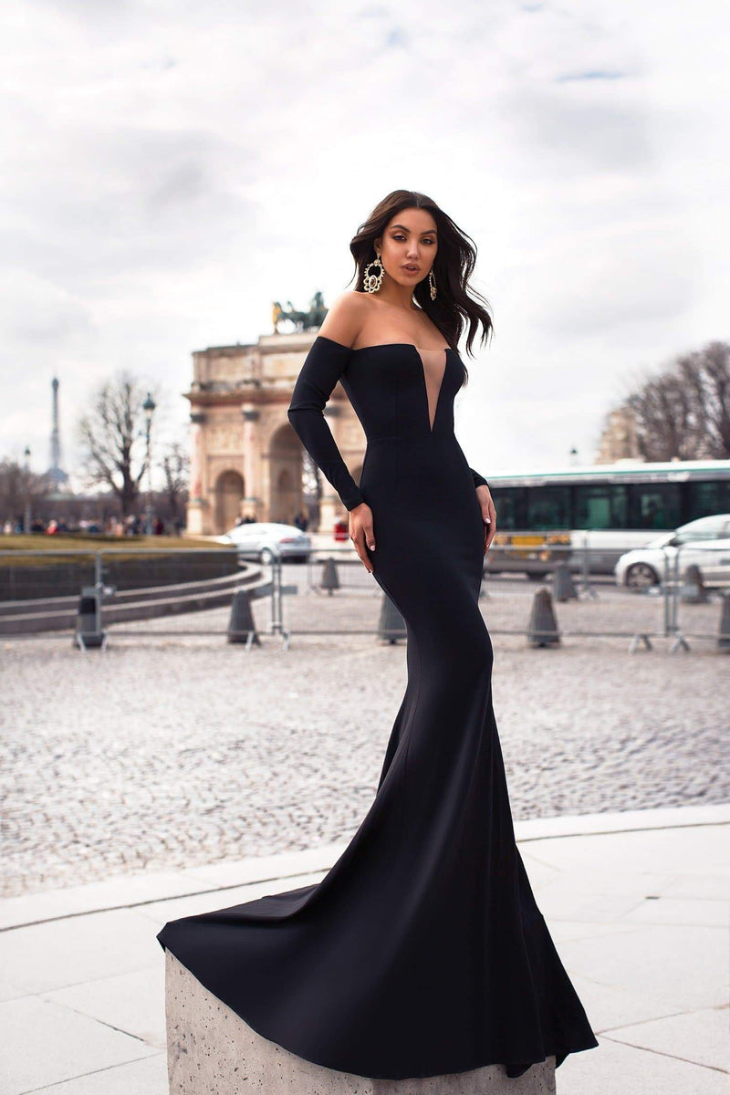 Alexiya - Black Crepe Gown | Mesh Neckline & Long Off-Shoulder Sleeves