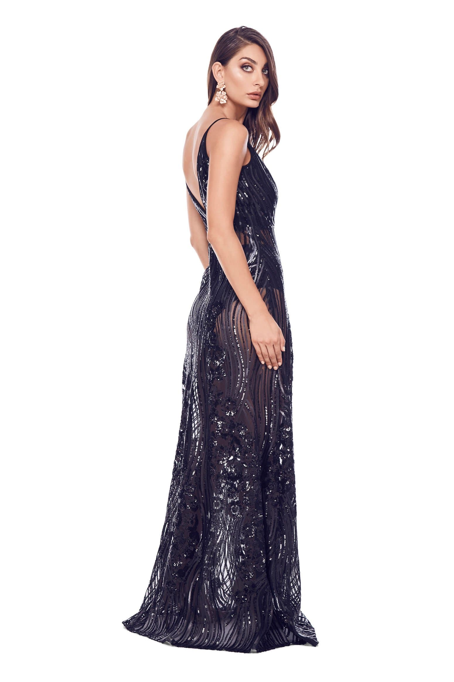 Lacrecia -  Sheer Black Sequin Gown with Plunge Neck & Low Back
