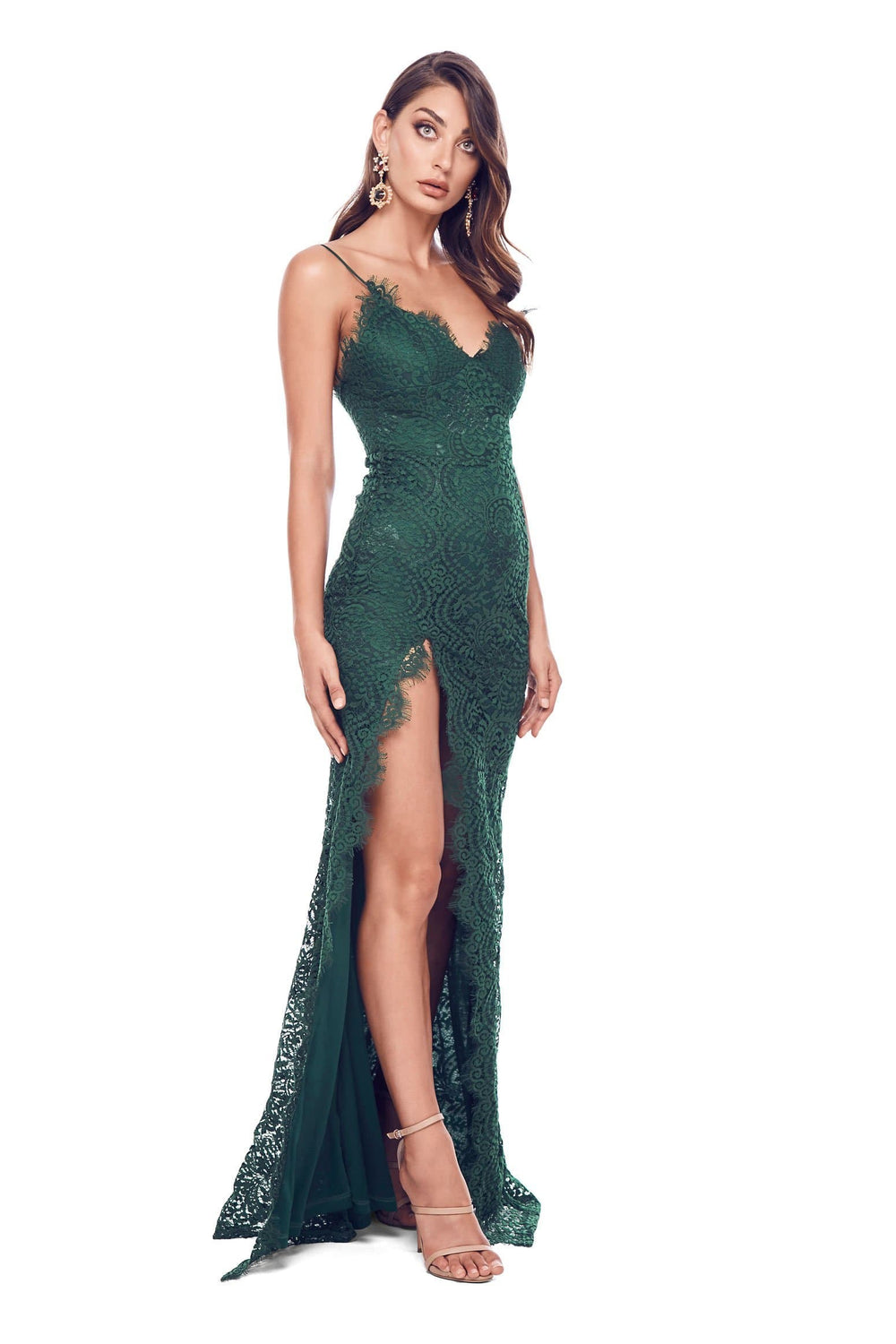 Layali - Sleeveless Emerald Lace Gown with Side Split & Open Back