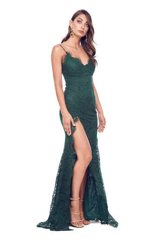 Layali Lace Gown - Emerald