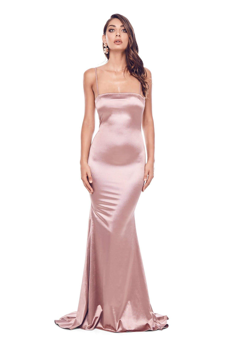 Lesiya - Rose Gold Satin Gown with Square Neckline & Mermaid Train