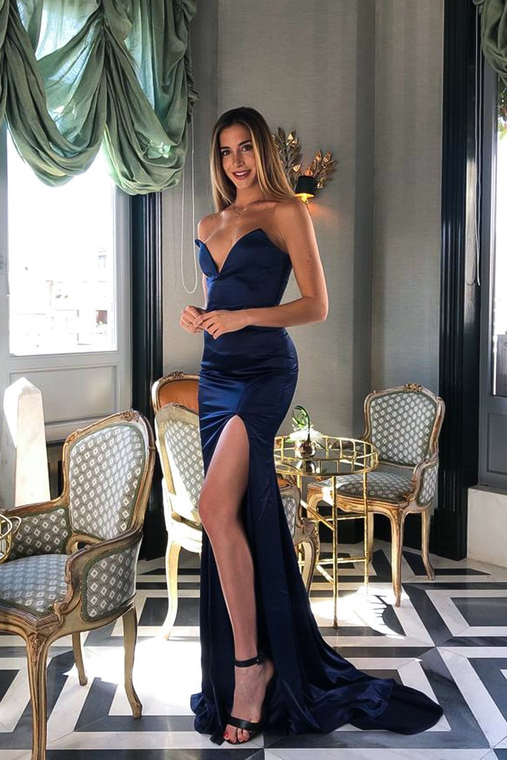 Mabelle - Navy Satin Gown with V-Neckline & Thigh High Slit