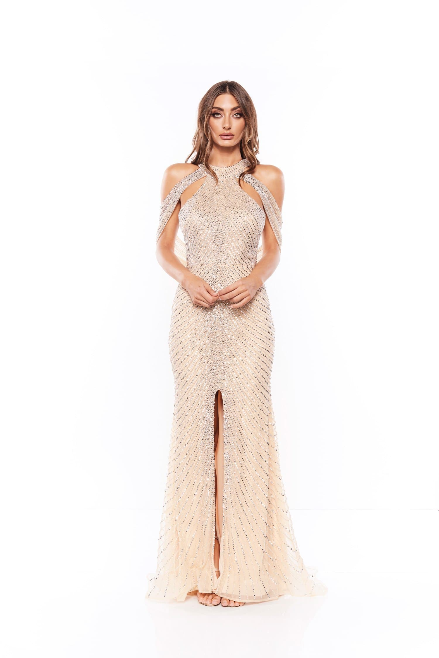 Marcela - Nude Beaded Gown With Neck, Back Detail and Slit