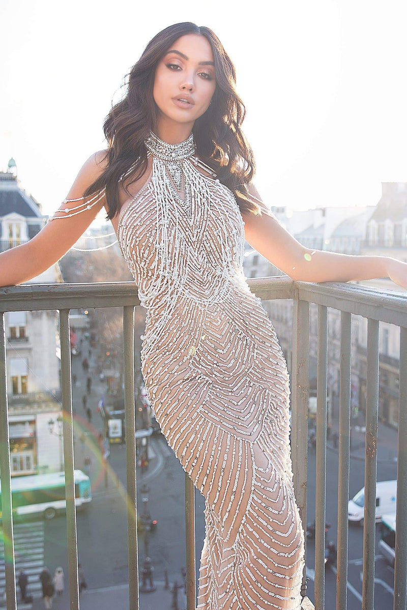 Paris - Halter Neck Beaded Gown with Off-Shoulder Drapes & Back Slit