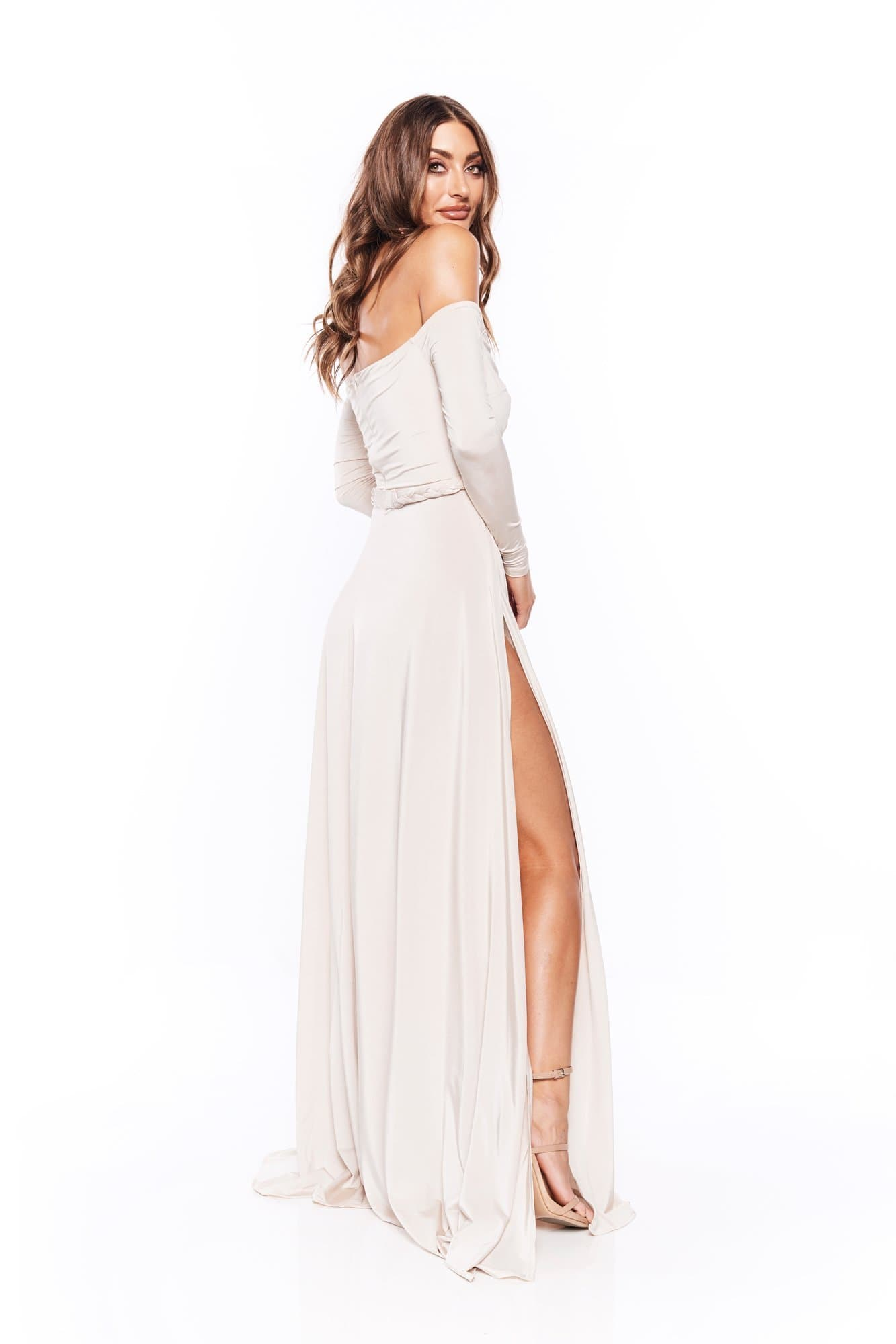 Parnella - Oyster Off Shoulder Long Sleeve Jersey Gown with Slit