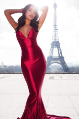 Pascala - Wine Red Satin Gown with Plunge Neck & Lace Up Back