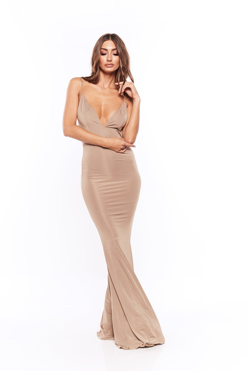 Penelope - Bronze V Neck Dress with Backless Style & Back Knot Detail