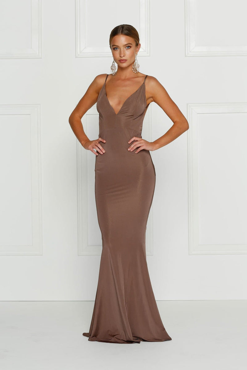 Penelope - Chocolate Backless Jersey Gown with Plunge Neckline 33f4d994a