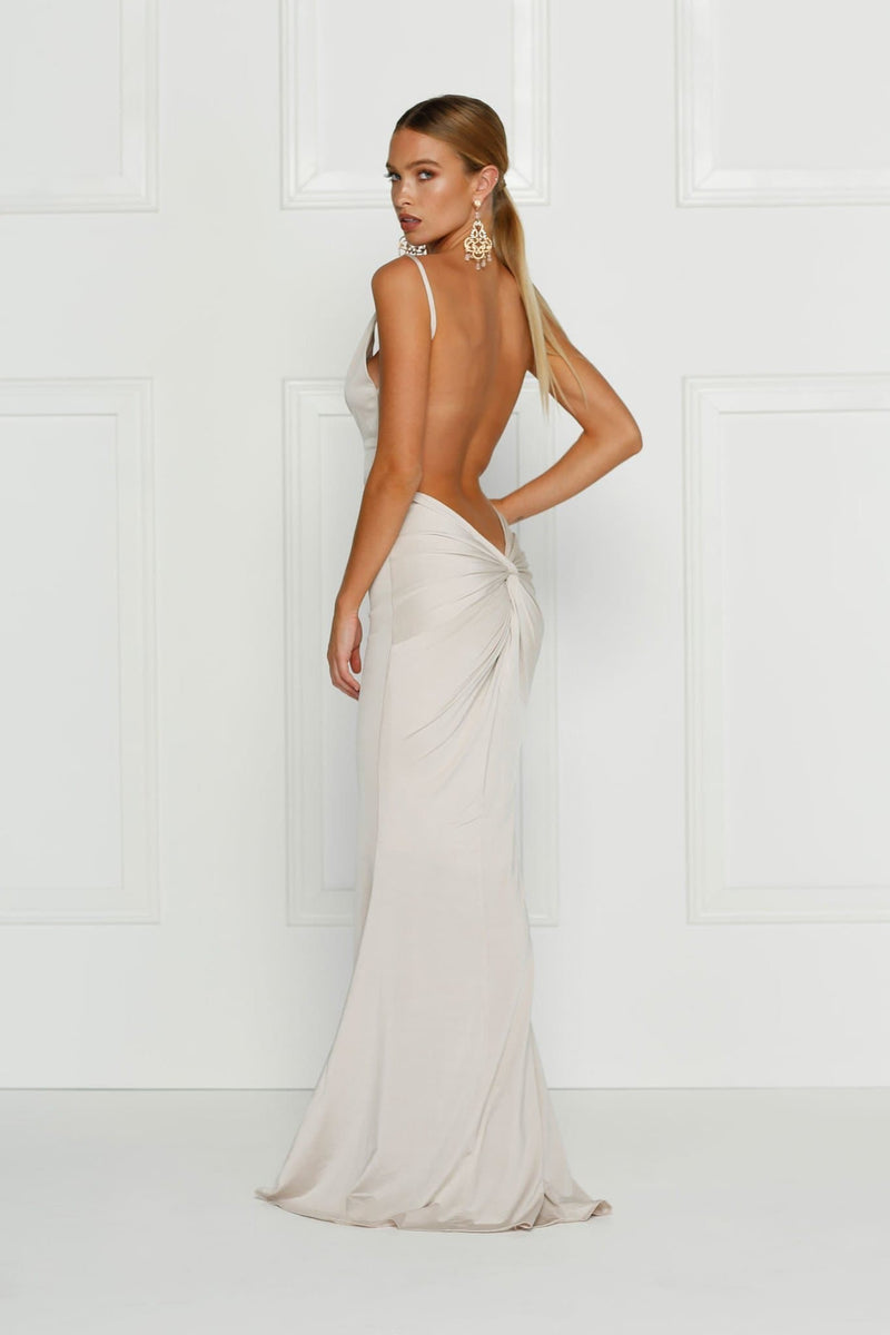 Penelope- Ivory White Backless Dress | Back Knot Design & Plunge Neck