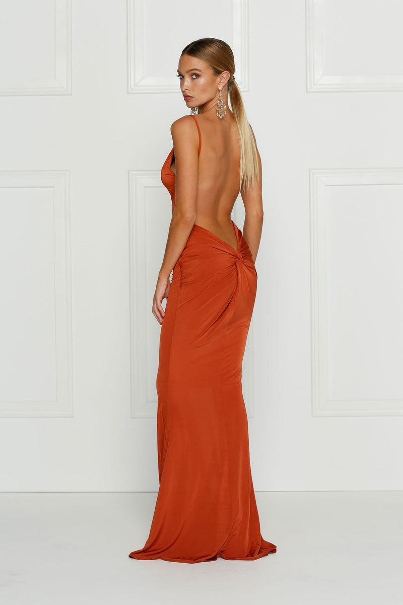 Penelope - Golden Rush Backless Dress with Back Knot Design