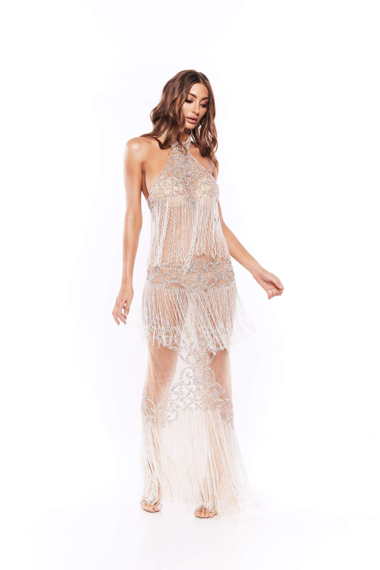 Rocalicia - Sheer Halter Neck Beaded Gown with Tassels