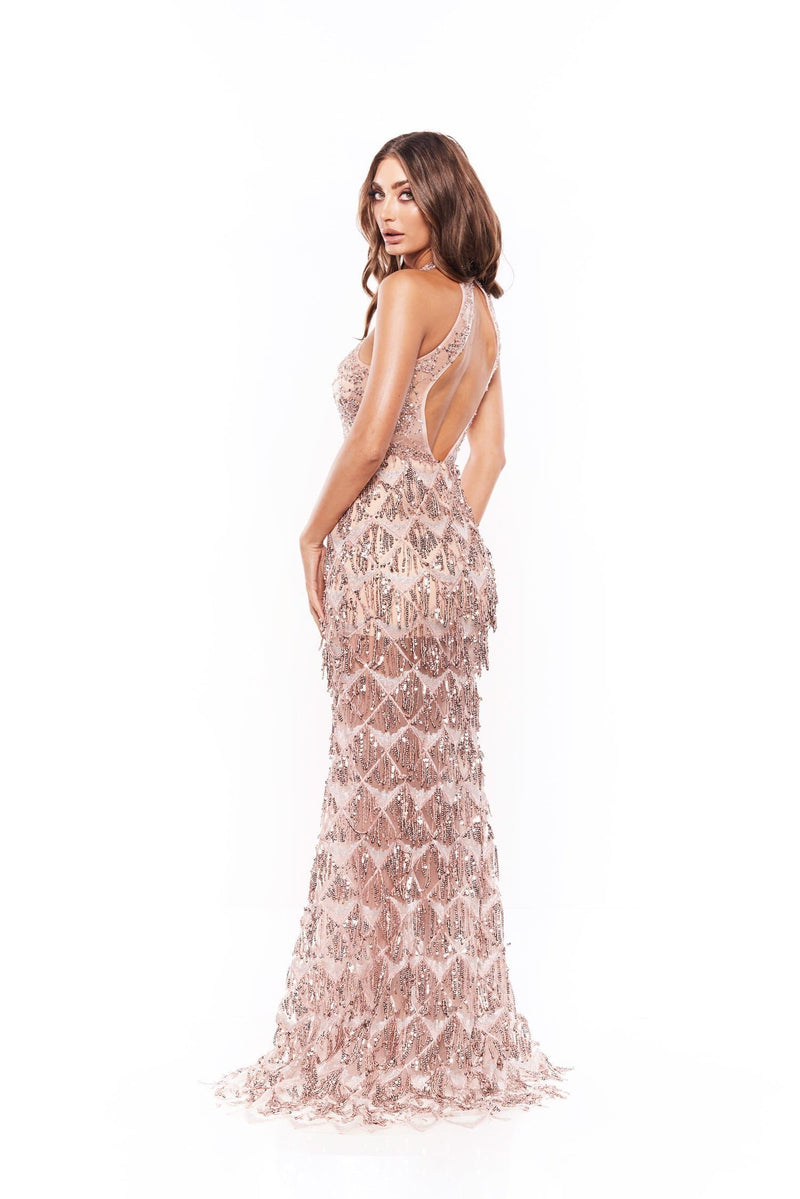 Rosita - Rose Sleeveless Beaded Gown with Open Back & Halter Neck