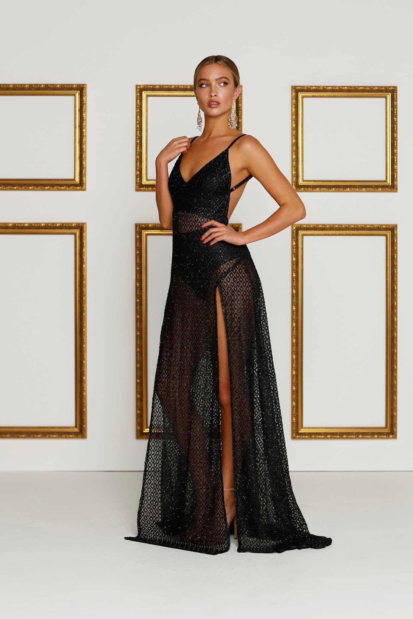 2146d413b75ab Rozay Luxe - Black Sheer Sequin Gown with Plunge Neckline   Side Slits