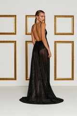 Rozay Luxe - Black Sheer Sequin Gown with Plunge Neckline & Side Slits