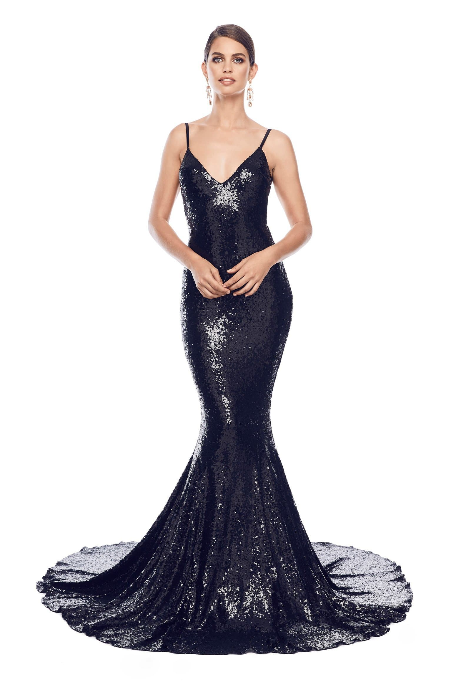 Yassmine Luxe - Black Sequin Gown with Mermaid Tail & Open Back