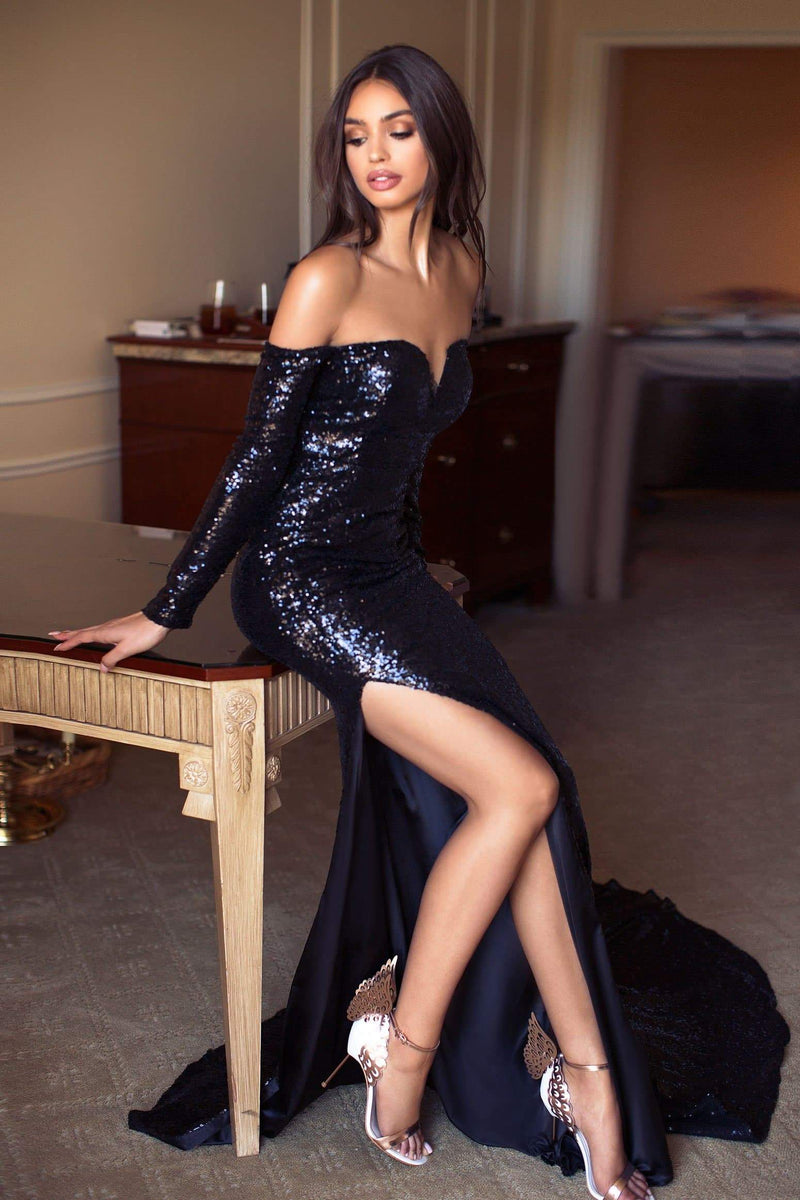 Diamanda - Black Sequin Gown with Long Off-Shoulder Sleeves
