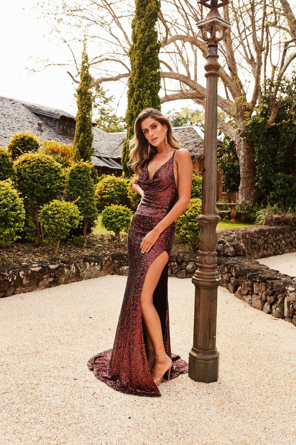 Andriana - Chocolate Brown Sequin Gown with Side Slit & Gown Neckline