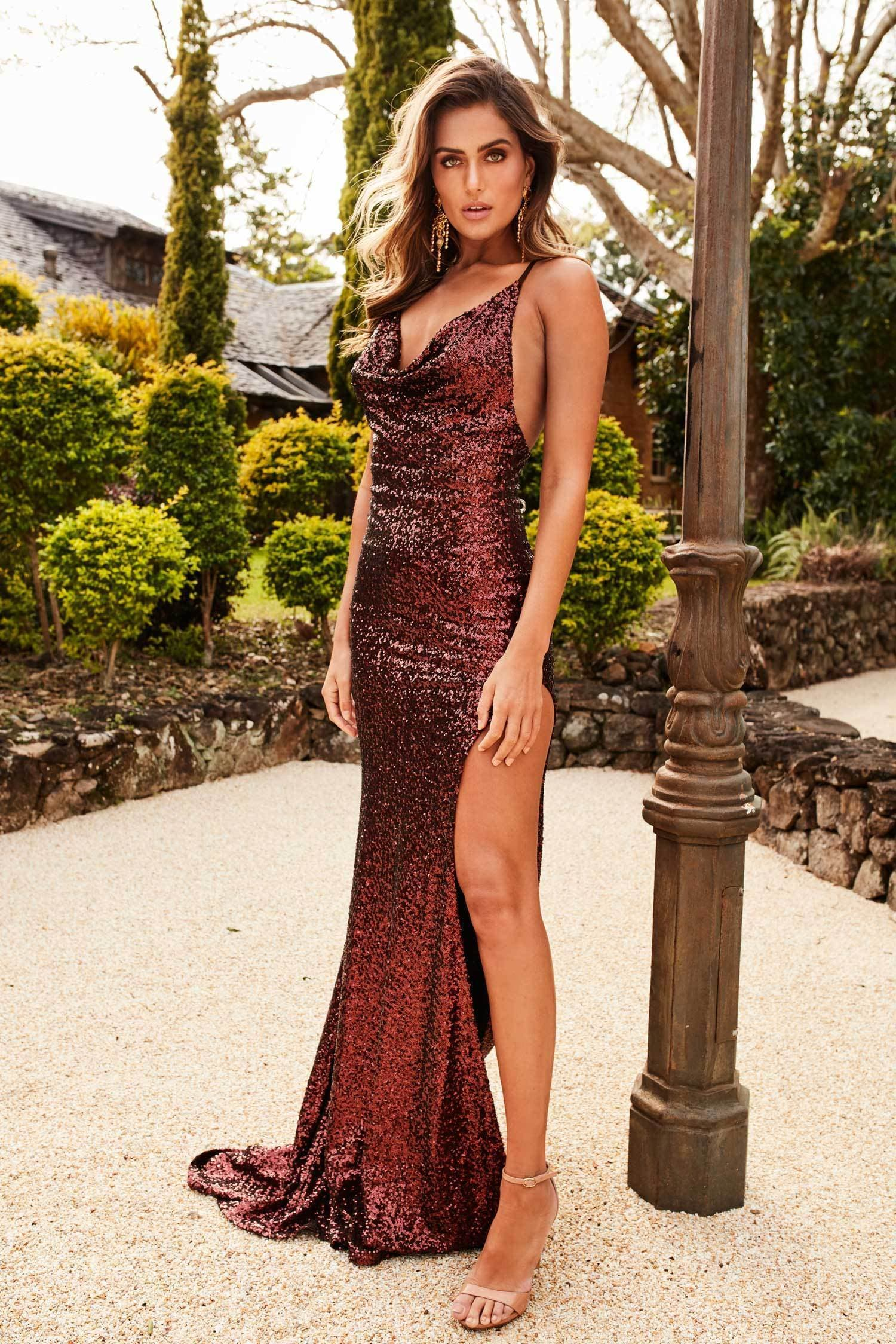 Andriana Sequins Gown - Chocolate Brown Evening Dress