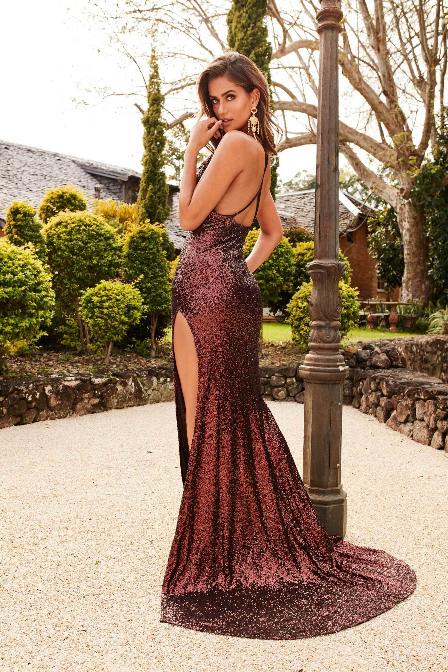 Andriana Sequins Gown Chocolate Brown Evening Dress