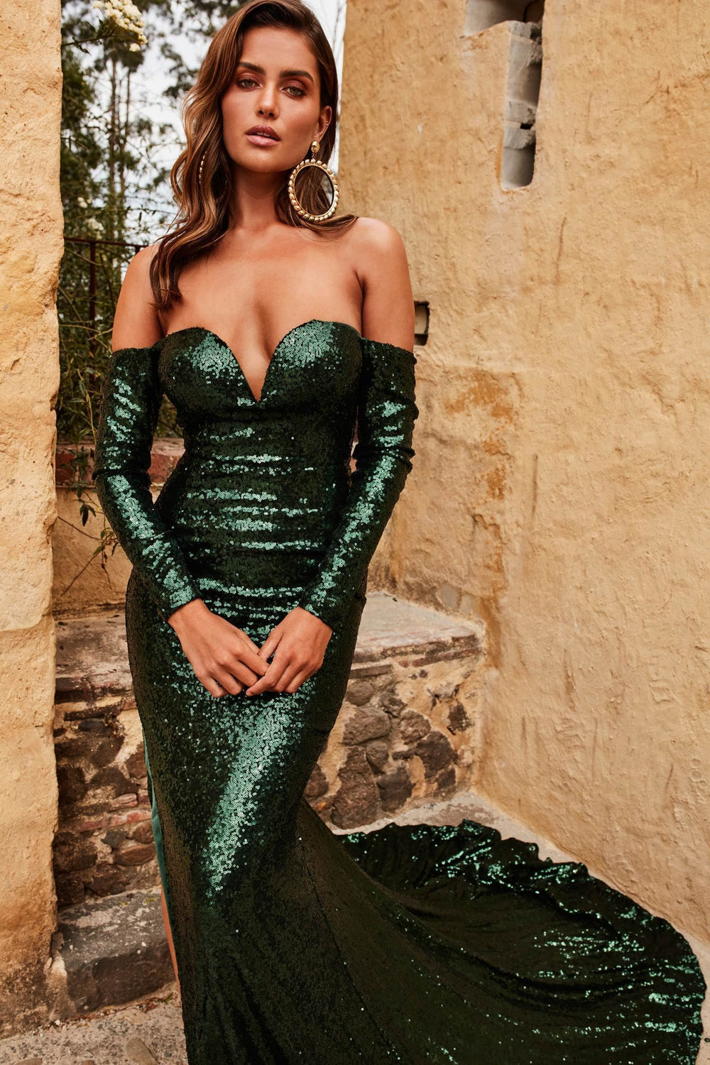 Diamanda - Emerald Sequin Gown with Long Off-Shoulder Sleeves