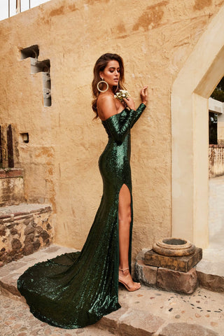 Diamanda Gown - Emerald Sequin Off Shoulder Long Sleeve Mermaid Dress