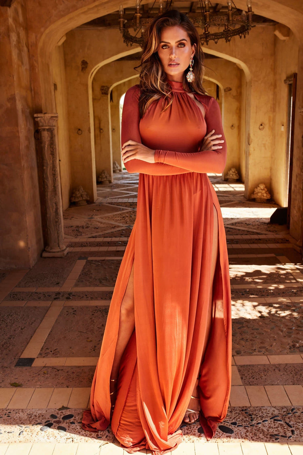Liliya - Rust Long Sleeve Gown | High Neckline, Open Back & Side Slits