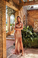 Andriana - Rose Gold Sequin Gown with Cowl Neckline & Low Back