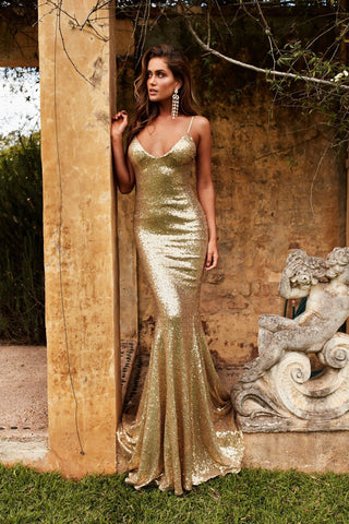 Yassmine Luxe Gown - Gold Sequin V Neck Open Back Fitted Mermaid Dress