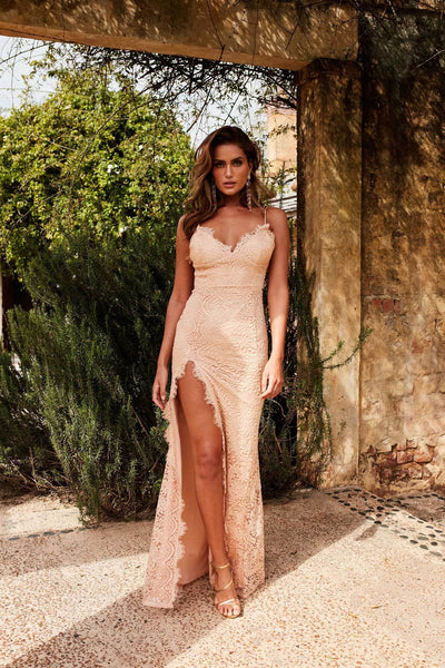 Layali Gown - Nude Lace V Neck Low Back Side Slit Long Train Dress
