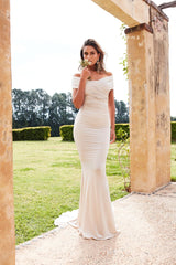 Campanule - Oyster Off-Shoulder Jersey Gown with Mermaid Train