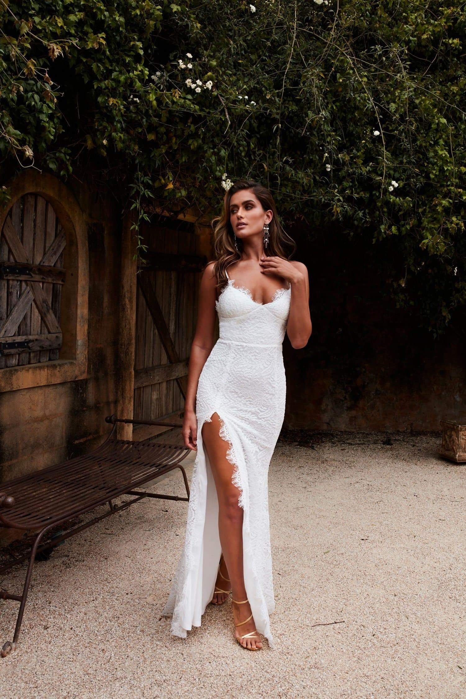 e01a47bb2000 Layali - White Lace Sleeveless Gown with V-Neckline   Low Back
