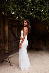 Layali Gown - White Lace V Neck Low Back Side Slit Long Train Dress
