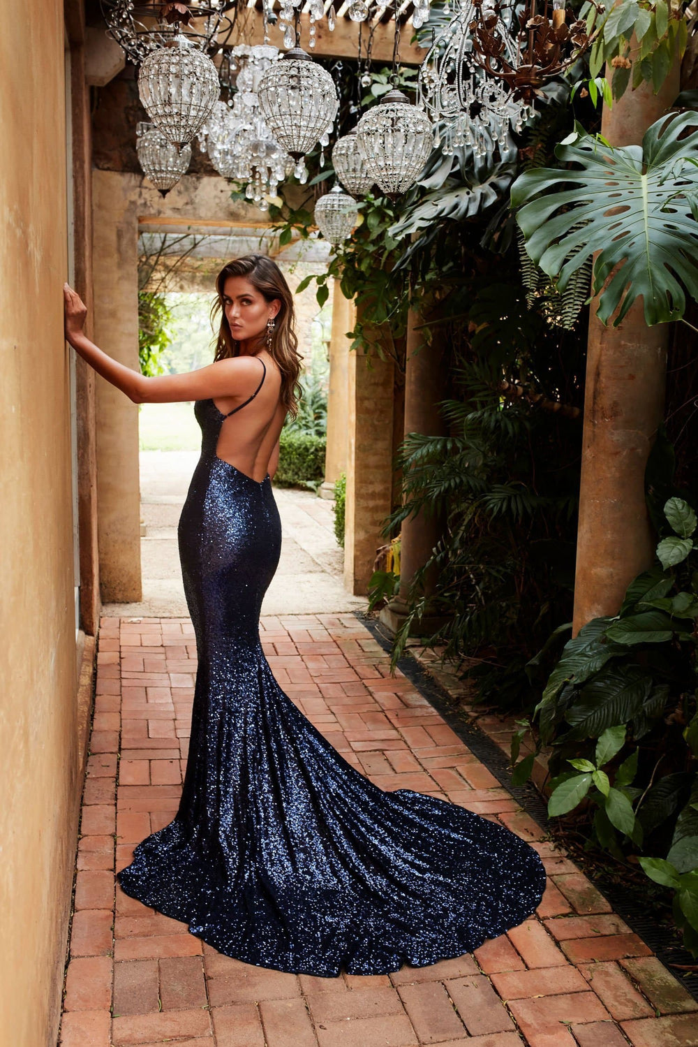 Yassmine Luxe Gown - Navy Sequin V Neck Open Back Fitted Mermaid Dress