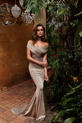 Campanule Bronze - Off-Shoulder Jersey Evening Gown with Mermaid Train