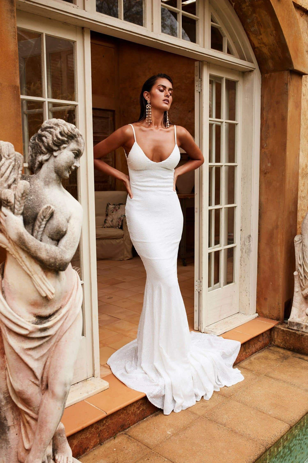 Yassmine Luxe Gown - White Sequin V Neck Open Back Fitted Mermaid Dress