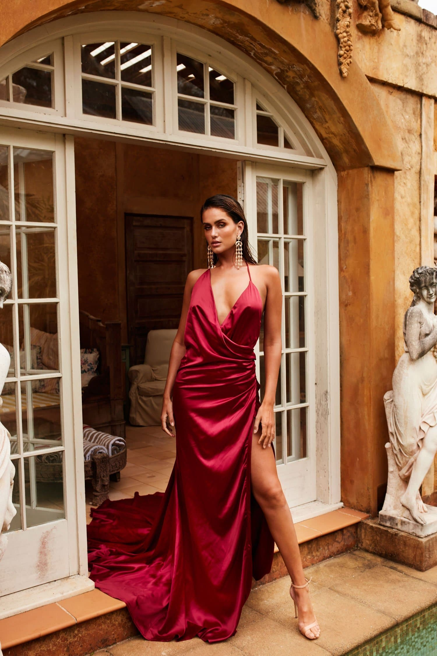 Guinevere Luxe Satin Gown - Wine Red V Neck Dress in Double Satin