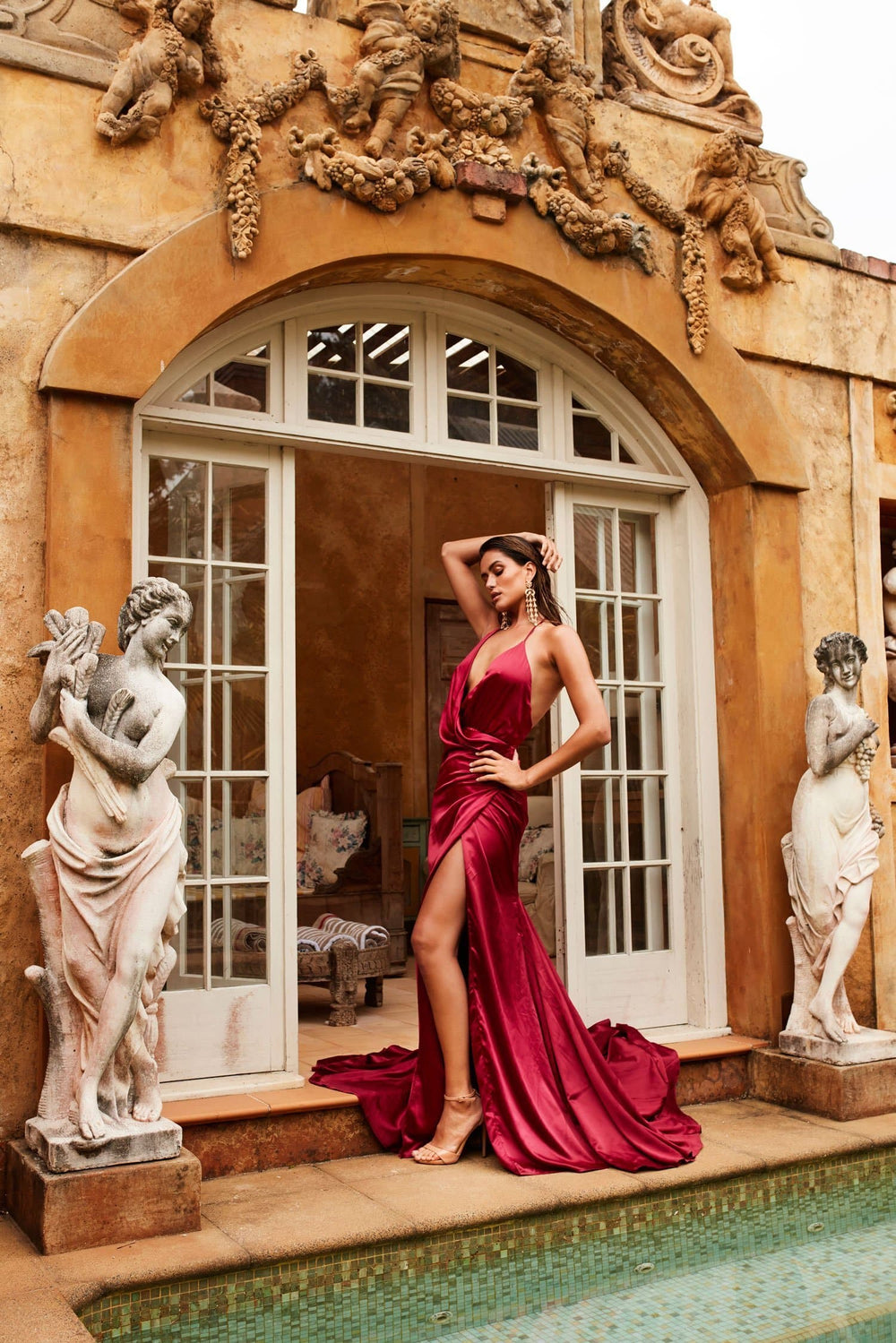 Guinevere Luxe - Wine Red Satin Gown with Plunge Neck & Side Slit