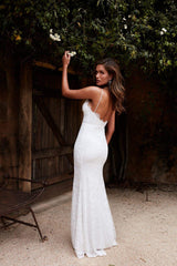 Layali - White Lace Sleeveless Gown with V-Neckline & Low Back