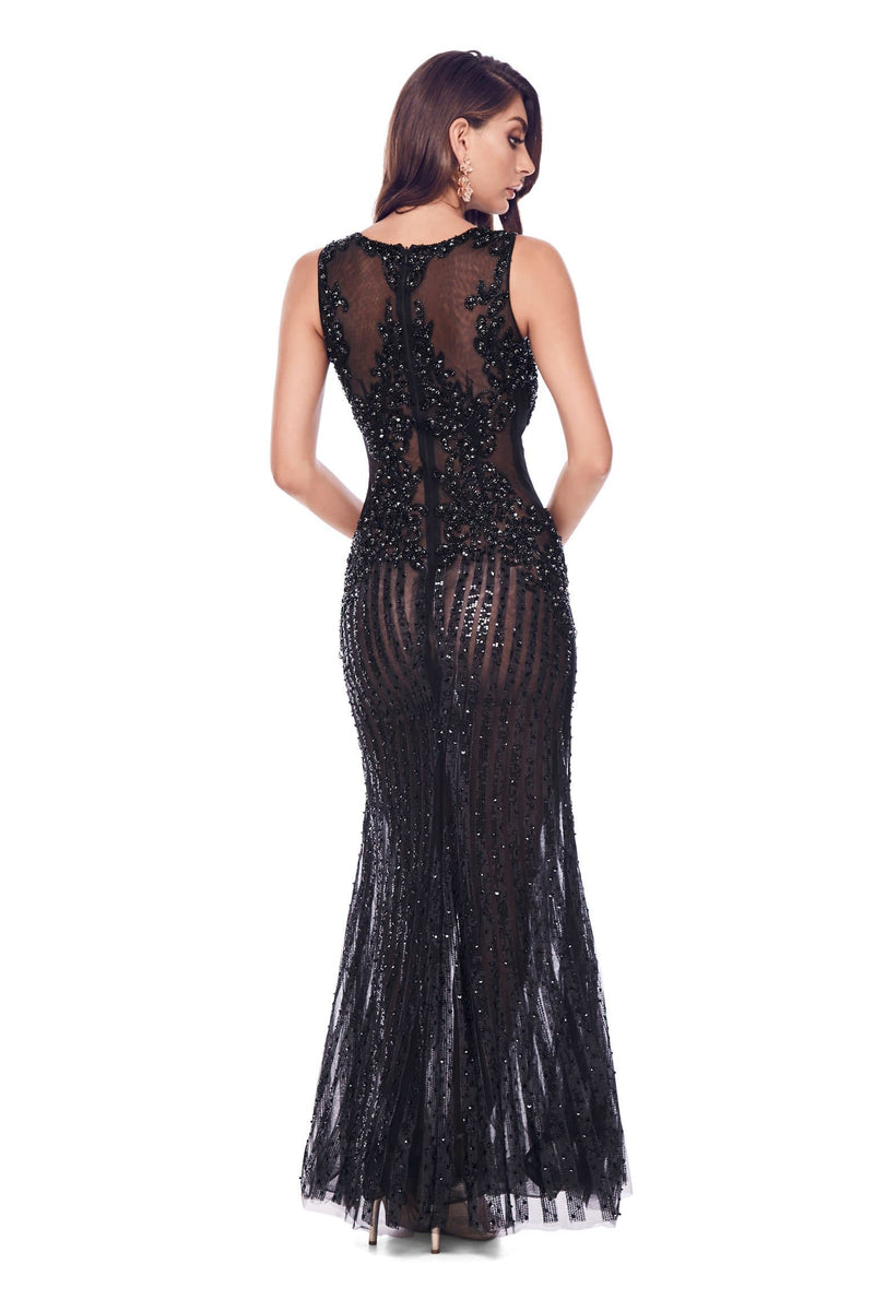 Samara - Black Sheer Beaded Couture Gown with Mermaid Silhouette