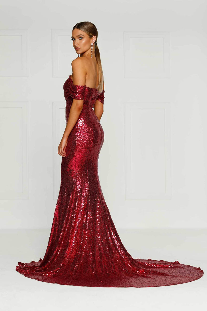 db9245bd Silicya - Wine Red Sequin Gown | Off-Shoulder Drapes & Mermaid Train