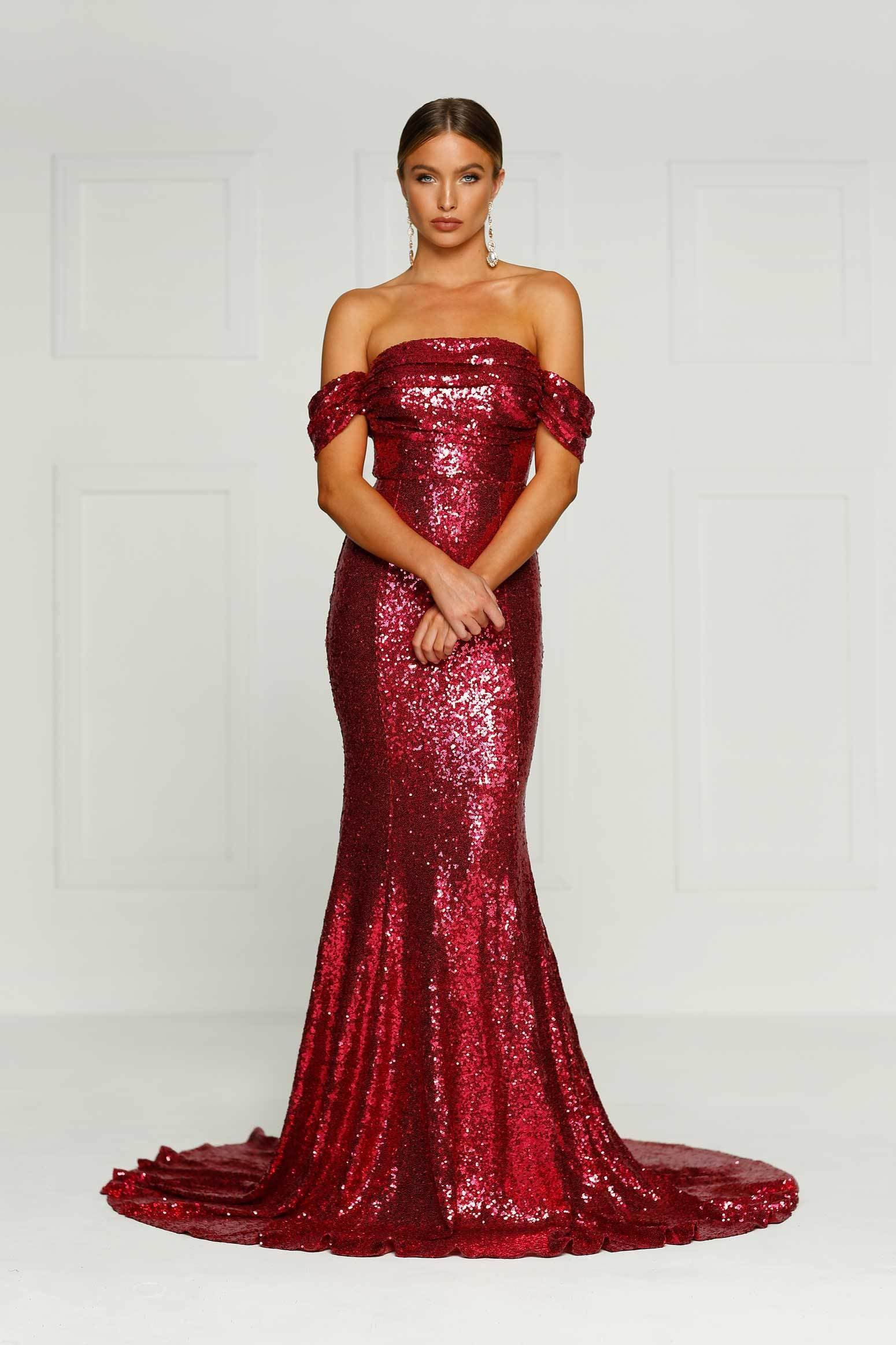 Silicya - Wine Red Sequin Gown | Off-Shoulder Drapes & Mermaid Train