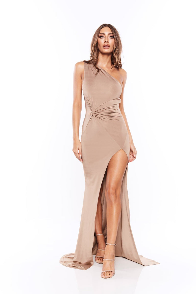 Soraya - Bronze Jersey One Shoulder Gown with Side Slit